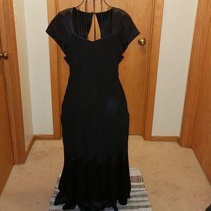 VTG Carole Little LBD sz12 crepe& satin maxi dress